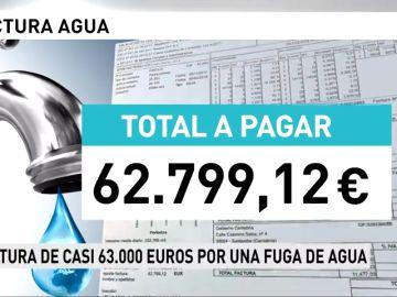 Reciben una factura de casi 63.000 euros por una fuga de agua
