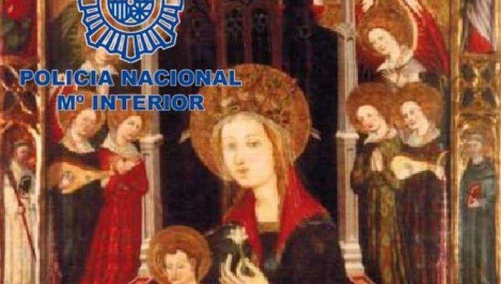 El óleo 'Tabla de la Virgen de los Angeles'