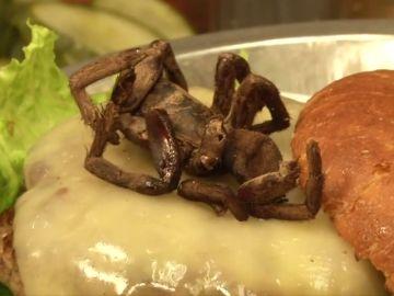Un restaurante americano ofrece una hamburgesa con tarántula asada