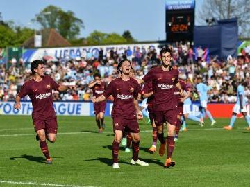 Los jugadores del Barcelona celebran uno de los goles contra el Manchester City
