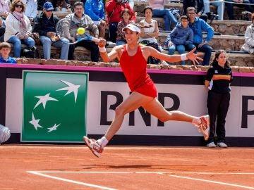 Muguruza en un partido de la Copa Davis