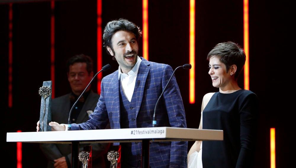 María León y Javier Rey en la clausura del Festival de cine de Málaga