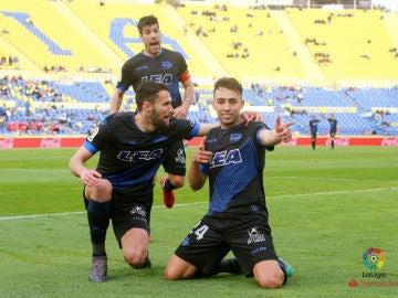 Munir celebra uno de sus goles contra Las Palmas