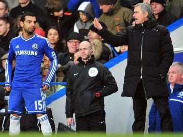 Salah y Mourinho, durante su etapa en el Chelsea