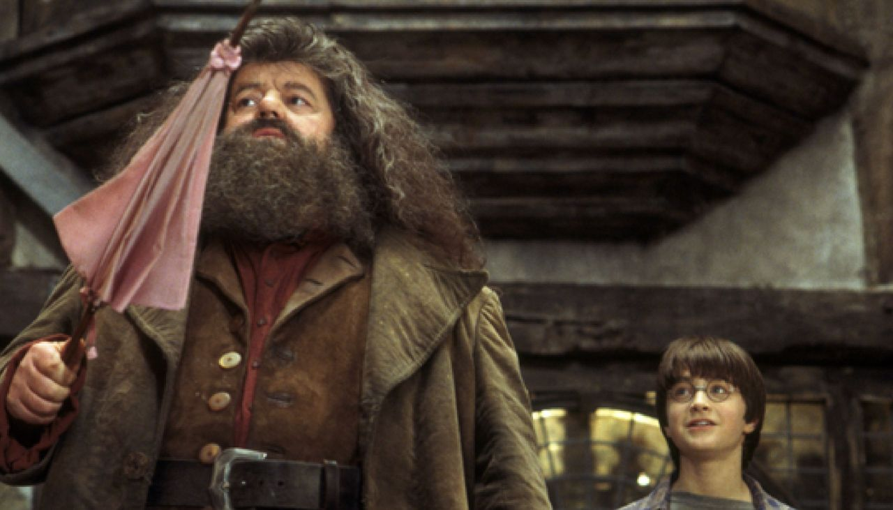 Hagrid y Harry en 'La Piedra Filosofal'