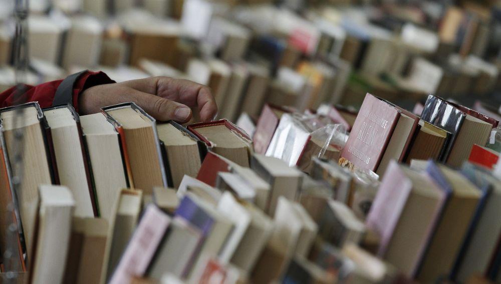 Un visitante hojea los ejemplares de una de las casetas de la XXXVI Feria del Libro Antiguo y de Ocasión de Madrid