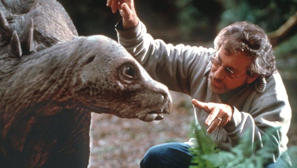 Steven Spielberg en el rodaje de 'Jurassic Park'