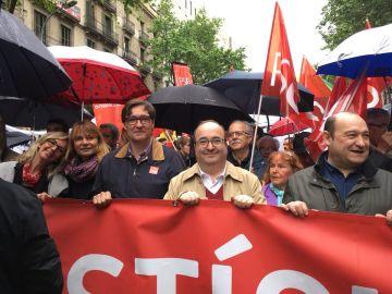Miquel Iceta en la manifestación por el 1 de mayo