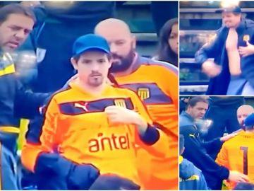 El aficionado presta su camiseta al portero del Peñarol