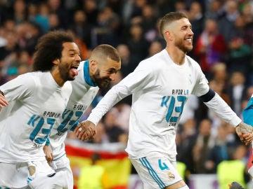 Marcelo, Benzema y Ramos celebran el pase a la final
