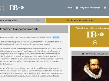 Entrada de Franco en el Diccionario Biográfico