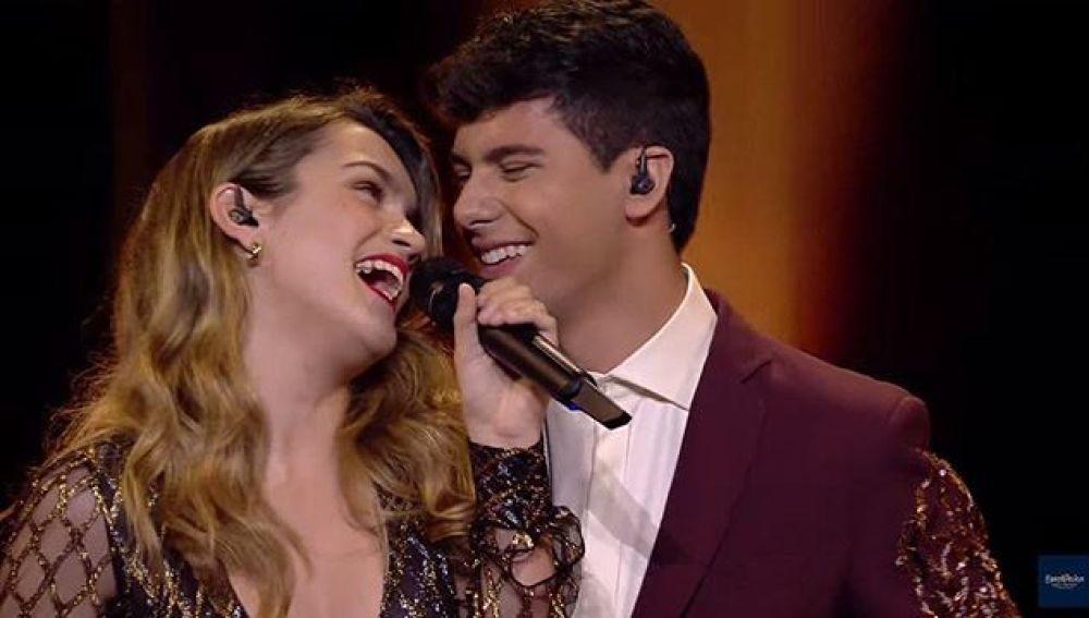 Amaia y Alfred en la primera semifinal de Eurovisión