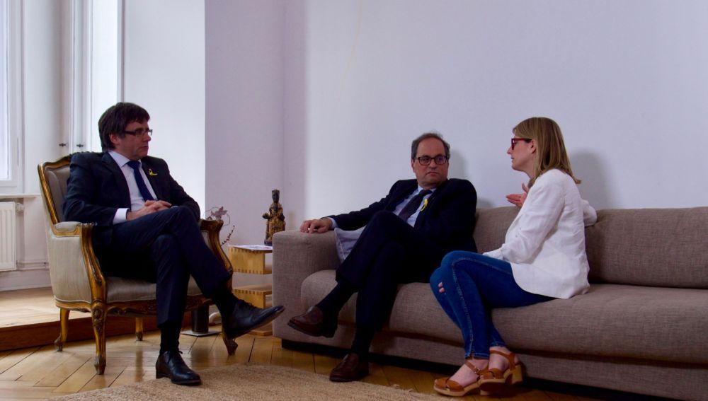 Carles Puigdemont, Quim Torra y Elsa Artadi en Berlín