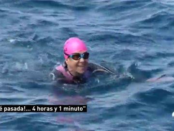 Mari Paz Corominas cruza el Estrecho a nado para celebrar su 50 aniversario olímpico