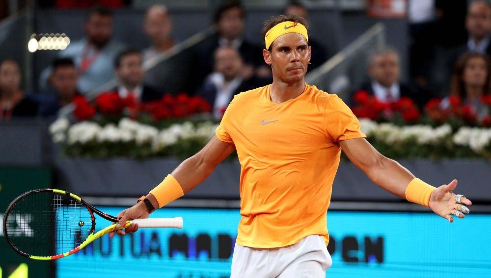 Rafa Nadal, en acción en el Mutua Madrid Open