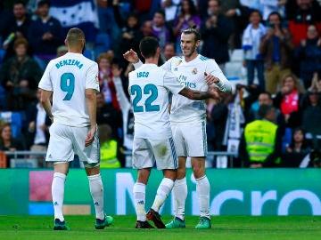 Bale celebra su gol en el Bernabéu