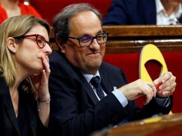 Quim Torra, junto a Elsa Artadi en el Parlament