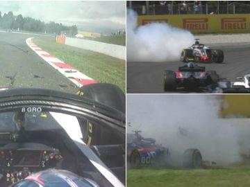 El accidente de Grosjean en el GP de España