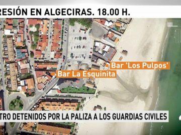 Cuatro detenidos por la agresión a nueve guardias civiles en Algeciras