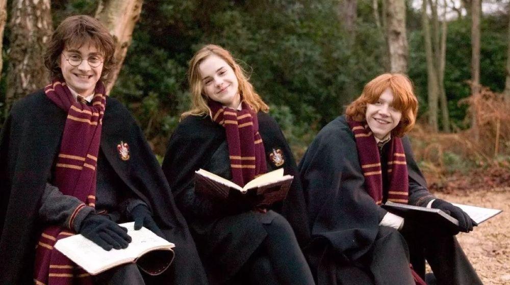 Harry, Hermione y Ron estudiando en Hogwarts