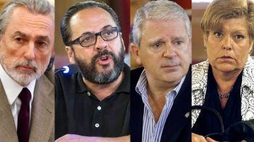 """Francisco Correa, Pablo Crespo y Álvaro Pérez """"El bigotes"""" y la exconsejera valenciana Milagrosa Martinez"""