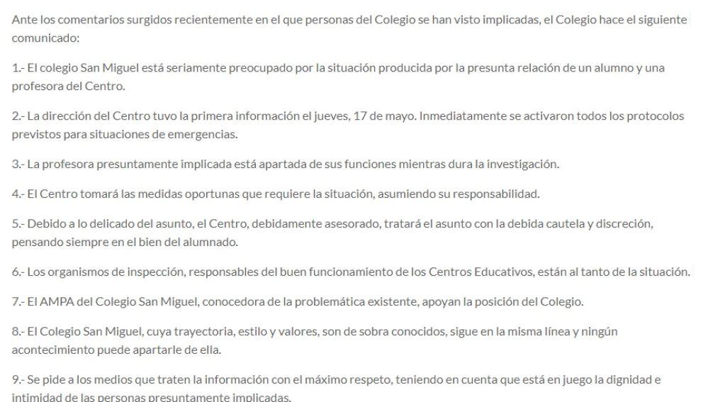 Comunicado del colegio de Gijón