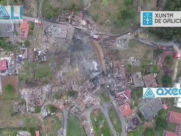 Un dron muestra el destrozo de la onda expansiva en la explosión en Tui