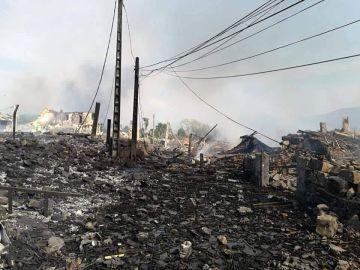 La zona zero de la explosión en Tui