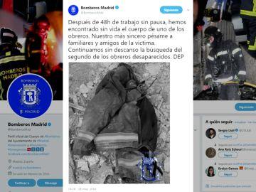 Emotivo homenaje de los Bomberos de Madrid a las víctimas del edificio derrumbado en Chamberí
