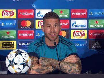 Sergio Ramos, en la rueda de prensa del Madrid