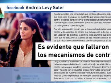 """Andrea Levy dice que """"toca pedir disculpas"""" tras la sentencia del caso Gürtel"""