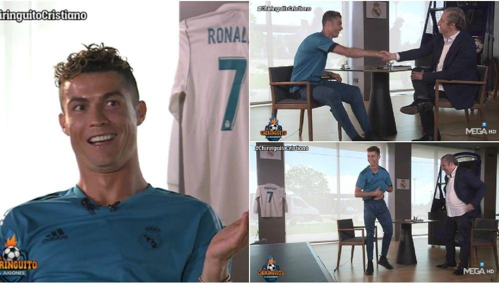 Cristiano Ronaldo, en diferentes momento de la entrevista con Josep Pedrerol