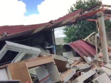 Así quedó la zona próxima al lugar de la explosión en Tui