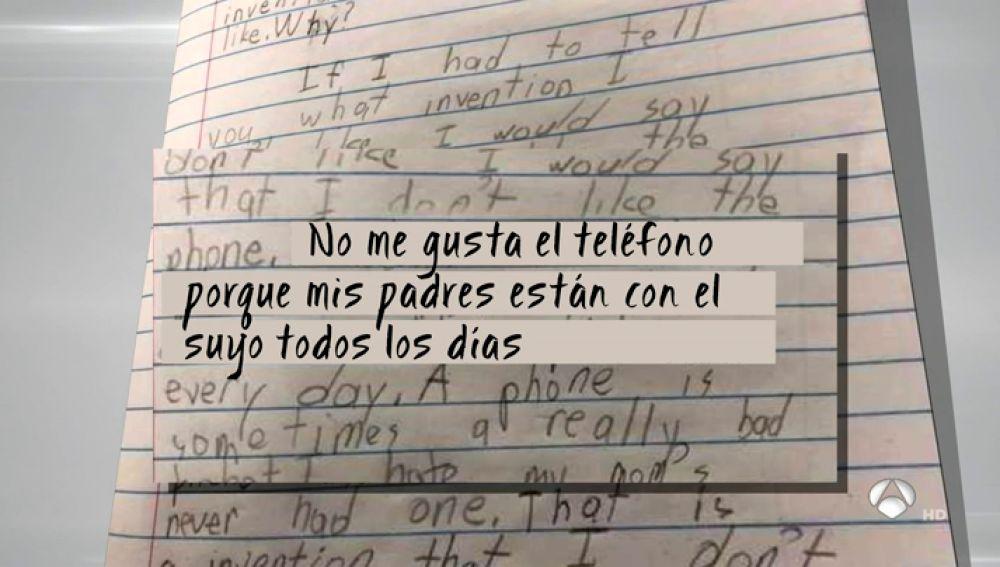 La carta de un niño de 8 años contra el móvil de su madre