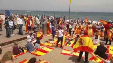 Banderas de España en la Barceloneta