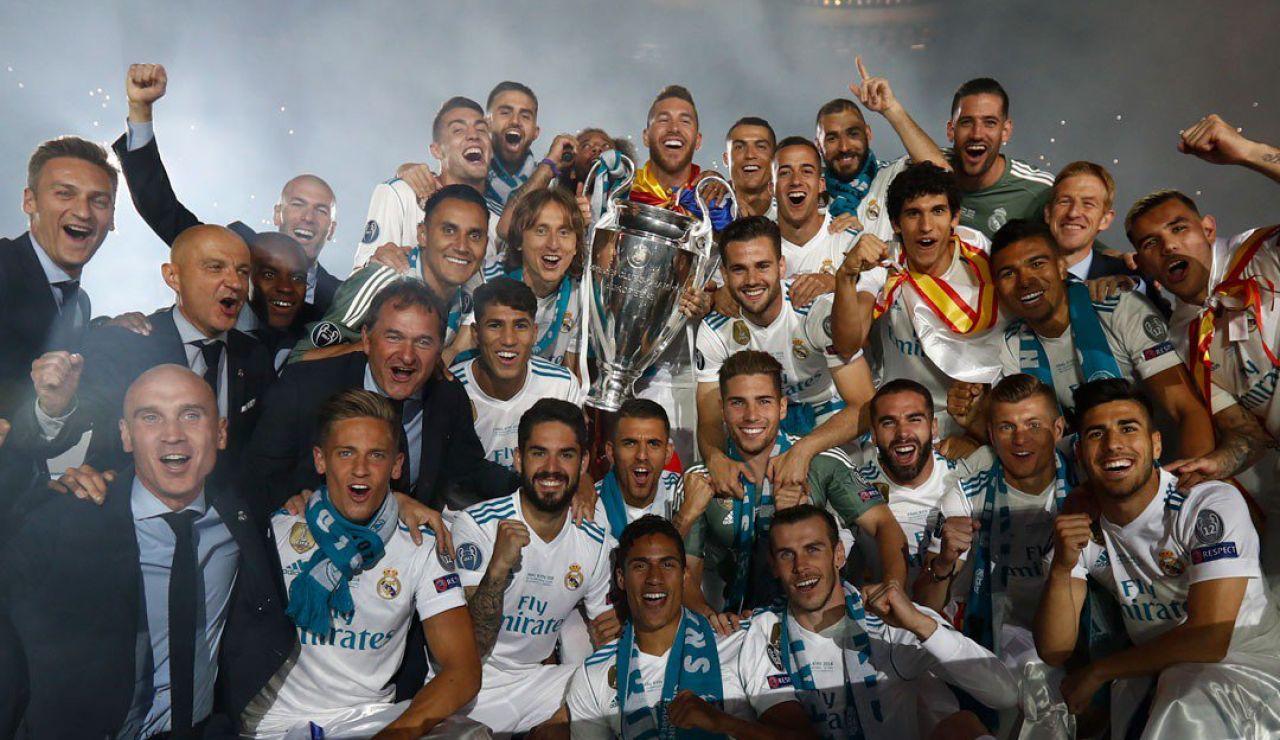 La plantilla del Madrid en el Bernabéu