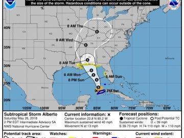Gráfico de la tormenta 'Alberto'