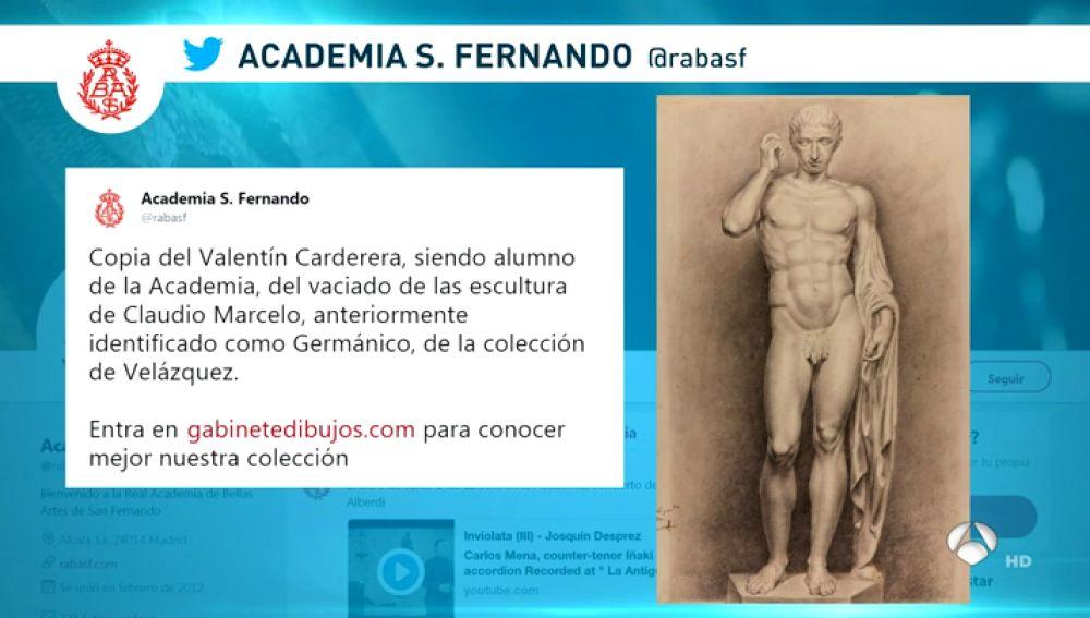 Suspenden la cuenta de Twitter de la Real Academia de  Bellas Artes de San Fernando por compartir una obra de un desnudo