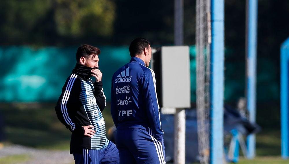 Leo Messi, en un entrenamiento de la selección argentina