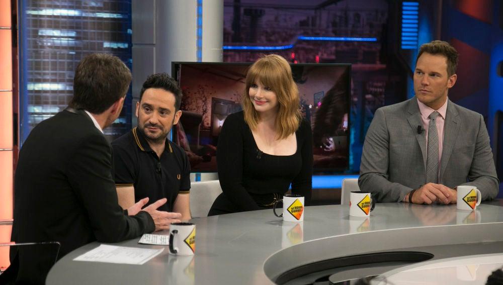 Chris Pratt, Bryce Dallas Howard y J.A. Bayona confiesan en 'El Hormiguero 3.0' qué sintieron la primera vez que vieron 'Parqué Jurásico'