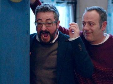 Iker Galartza y Gorka Aguinagalde, un tándem de risas imparables en el rodaje de 'Allí Abajo'