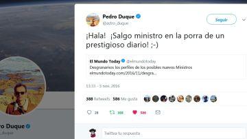Pedro Duque y El Mundo Today