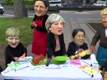 Acción de Oxfam para pedir al G7 políticas de conciliación