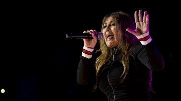Amaia Montero durante su polémico concierto en Piélagos, Cantabria