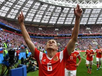Cheryshev celebra su gol contra Arabia Saudí