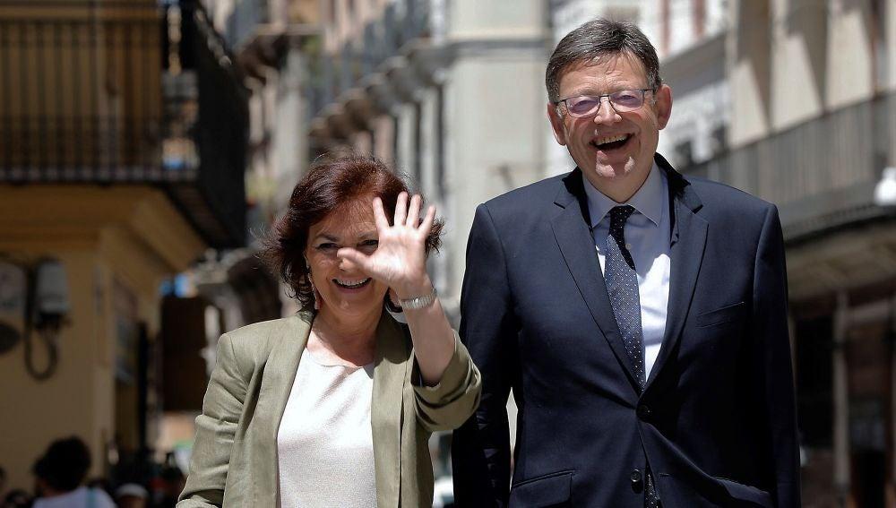 La vicepresidenta del Gobierno, Carmen Calvo, y el president de la Generalitat Valenciana, Ximo Puig