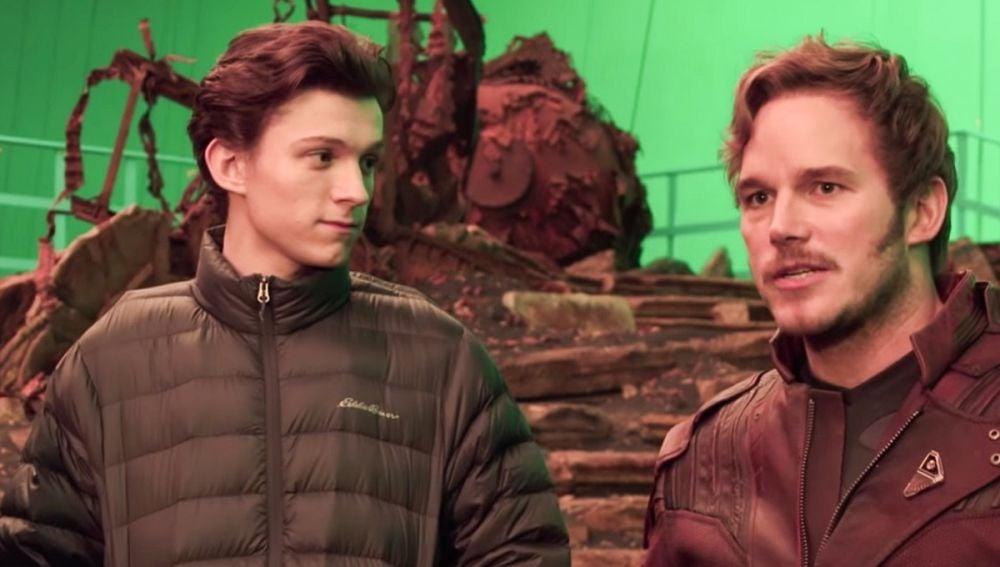 Tom Holland y Chris Pratt en el rodaje de 'Vengadores: Infinity War'