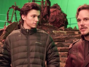 Tom Holland y Chris Pratt en el rodaje de 'Vengadores: Infinity War'