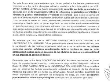 Imagen del escrito remitido a Fiscalía
