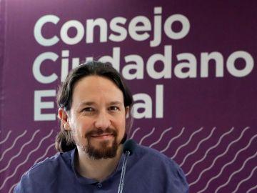 El líder de Podemos, Pablo Iglesias, durante el Consejo Ciudadano Estatal